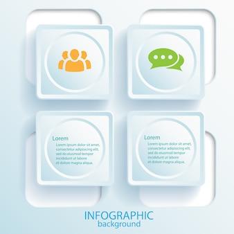 Geschäftsinfografik-designkonzept mit textwebschaltflächen und -symbolen