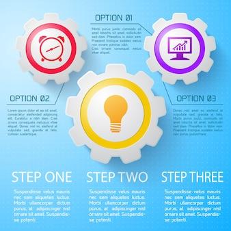 Geschäftsinfografik mit beschreibung der schritte und optionen flach