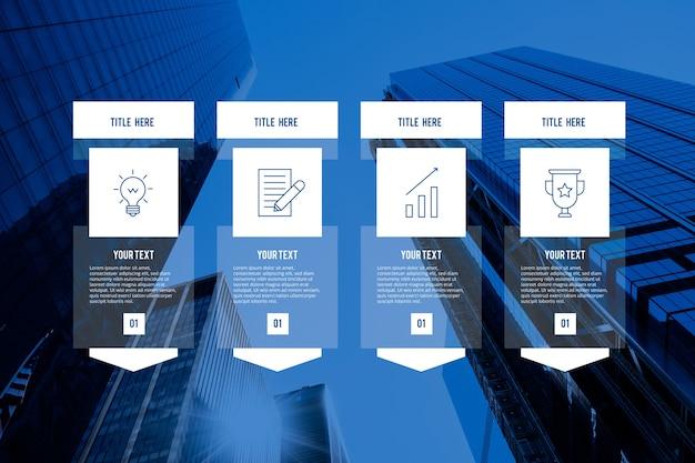 Geschäftsinfografik mit foto und details