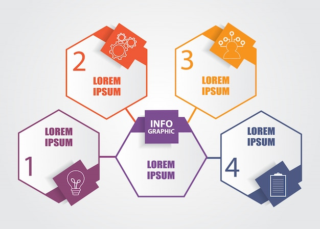 Geschäftsinfografik-vorlage mit 4 schritten