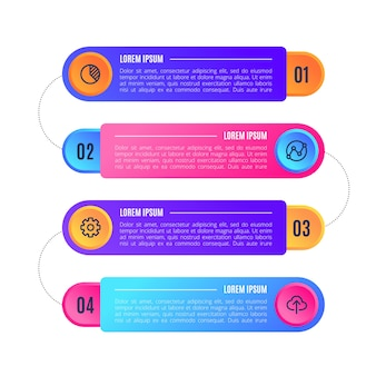 Geschäftsinfografiken gradient mit text