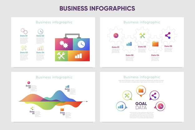 Geschäftsinfografiken mit farbverlauf