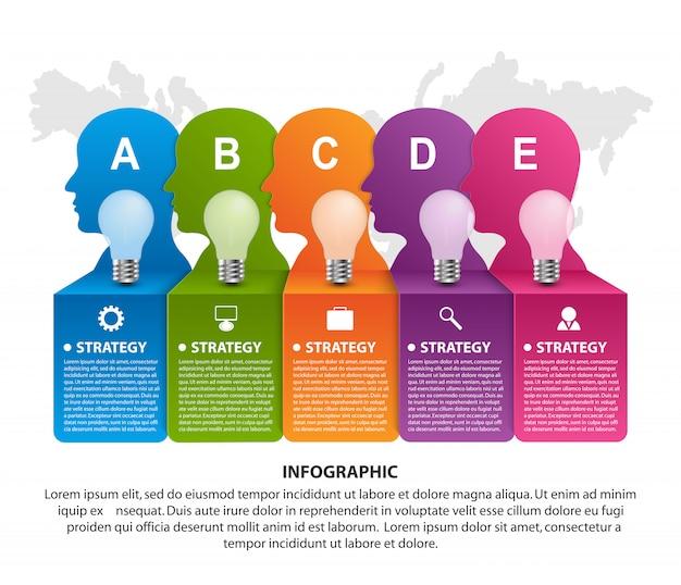 Geschäftsinfografiken mit sechs optionen