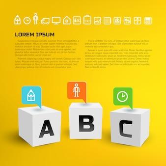 Geschäftsinfografiken mit zeigern auf 3d-würfel