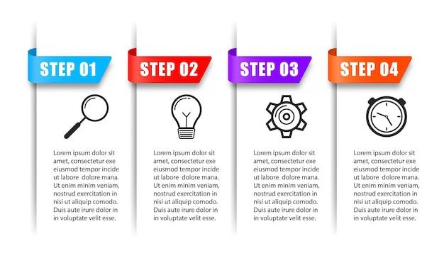 Geschäftsinfografiken prozessdiagramm kreatives konzept für den bericht mit 4-schritte-optionen