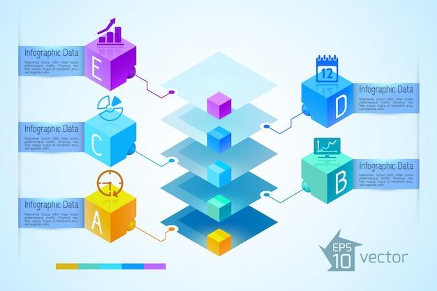Geschäftsinfografikkonzept mit fünf textfahnen und -ikonen der bunten diamantpyramide auf illustration der 3d-quadrate