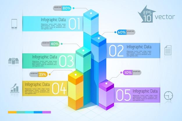 Geschäftsinfografikschablone mit bunten 3d quadratischen graphen fünf optionen und symbole auf blauer illustration
