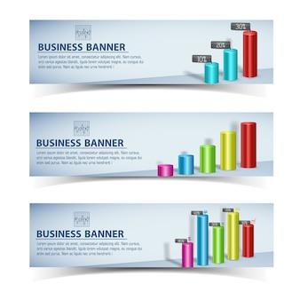 Geschäftsinfografikschablone mit dem bunten diagrammgraphen des horizontalen bannertextes