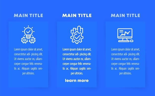 Geschäftsinfografikschablone mit liniensymbolen auf blau