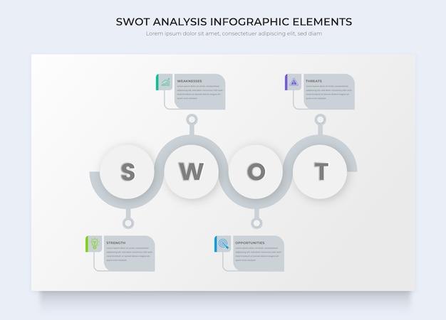 Geschäftsinfografikvorlagen für die swot-analyse