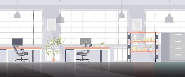 Geschäftsinnenillustration des büroraumraumarbeitsvektors flache mit stuhl und computer.