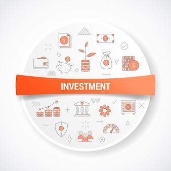 Geschäftsinvestition mit symbolkonzept mit runder oder kreisform