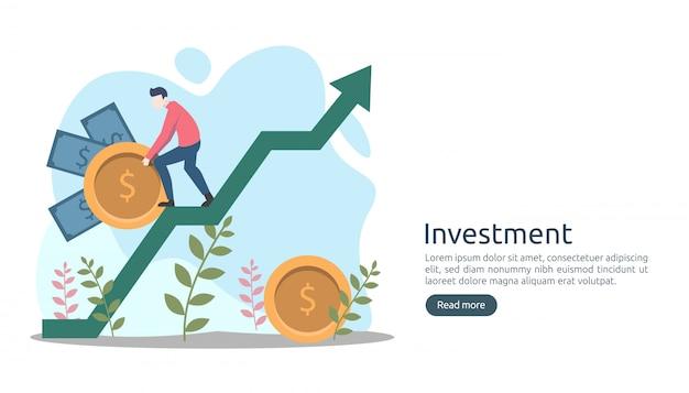 Geschäftsinvestitionskonzept. dollarstapelmünze, kleine leute, geld. moderne landing-page-vorlage