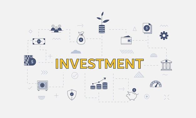 Geschäftsinvestitionskonzept mit icon-set mit großem wort oder text in der mitte