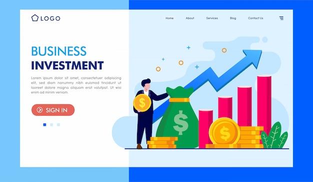 Geschäftsinvestitionslandungsseiten-illustrations-schablone