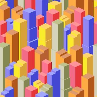 Geschäftsisometrische stadt mit vielen verschiedenen häusern, büros, wolkenkratzern, supermärkten und straßen mit verkehr.