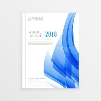 Geschäftsjahresbericht deckblatt-vorlage im a4-druckgröße mit abstrakten blauen formen