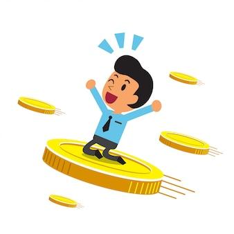Geschäftskarikaturgeschäftsmann mit großen münzen