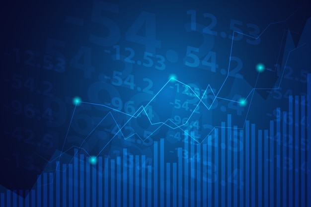 Geschäftskerzenhalter-diagrammdiagramm des börseninvestitionshandels auf blauem hintergrund.