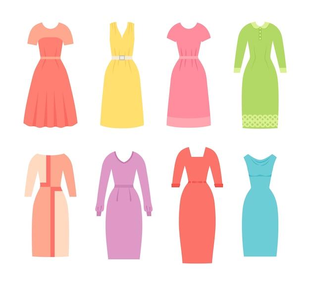Geschäftskleider für frauen. illustration. weibliches textil, flaches design.