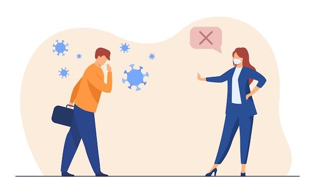 Geschäftskollegen halten soziale distanz. covid infizierte person, treffen in maske. karikaturillustration
