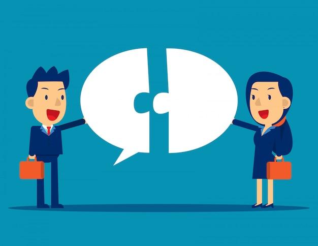 Geschäftskommunikation mit sprechblase