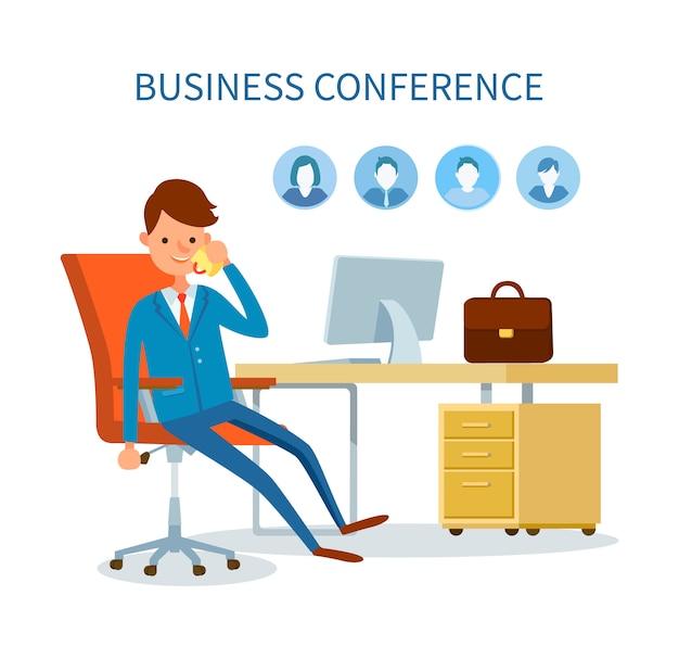 Geschäftskonferenz-mann, der am telefon spricht
