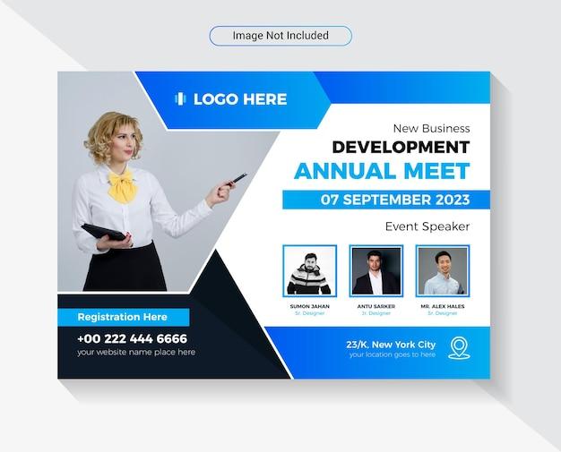 Geschäftskonferenz treffen flyer designvorlage modernes und kreatives horizontales layout