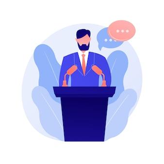 Geschäftskonferenz, unternehmenspräsentation. weiblicher sprecher flacher charakter mit leeren sprechblasen. politische debatten, professor, illustration des seminarkonzepts