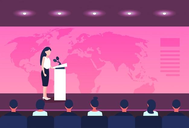 Geschäftskonferenzgeschäftsfraupolitiker, der von der tribüne über weltkartesprecher spricht