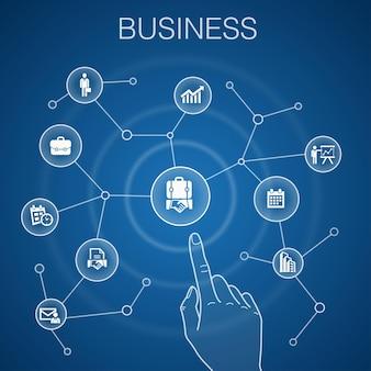 Geschäftskonzept, blauer hintergrund. geschäftsmann, aktentasche, kalender, diagrammsymbole