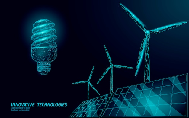 Geschäftskonzept der fluoreszierenden kompakten glühbirnenwindmühlenidee.