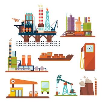 Geschäftskonzept der ölindustrie der kraftstoffverteilung und des transports der benzindieselproduktion vier symbole zusammensetzung