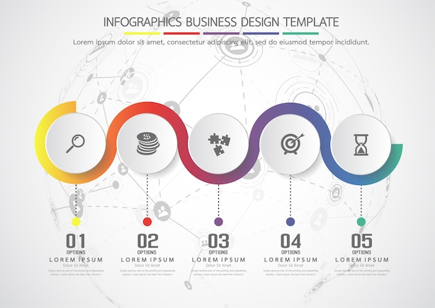 Geschäftskonzept des infographic schablonenvektors mit wahlen. kennzeichnen kreise für inhalt, fluss