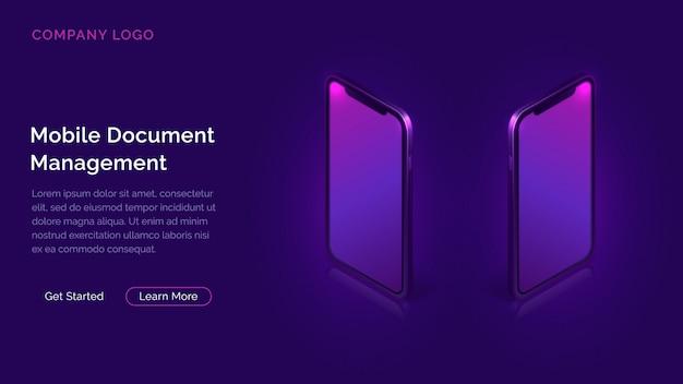 Geschäftskonzept des mobilen dokumentenmanagers