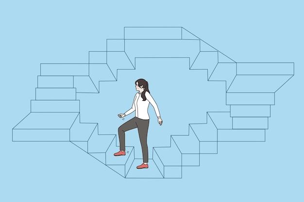 Geschäftskonzept für arbeit, karriere und erfolg. junge geschäftsfrau, die auf kreisvektorillustration auf blauem hintergrund endlose treppen hochgeht