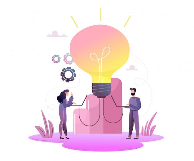 Geschäftskonzept für die einführung von ideen, glühbirne leuchtet. kleine kleine männer starten eine idee, glühbirne leuchtet scheint eine idee.