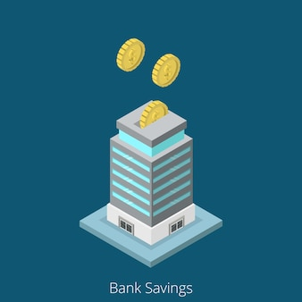 Geschäftskonzept für isometrische bankeinsparungen. konzeptionelle illustration der flachen 3d-isometrie-website