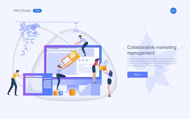 Geschäftskonzept für marketing und teamarbeit.
