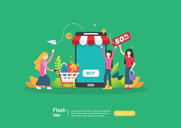 Geschäftskonzept für verkaufs-e-commerce-charakter der kleinen leute