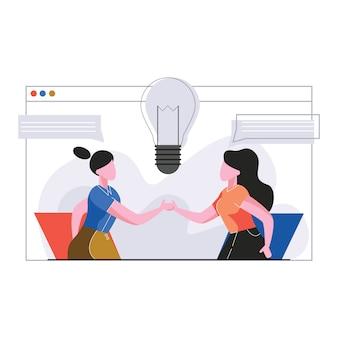 Geschäftskonzept für zusammenarbeitsillustration