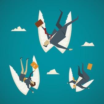 Geschäftskonzept. geschäftsleute flügel fallen aus dem himmel.