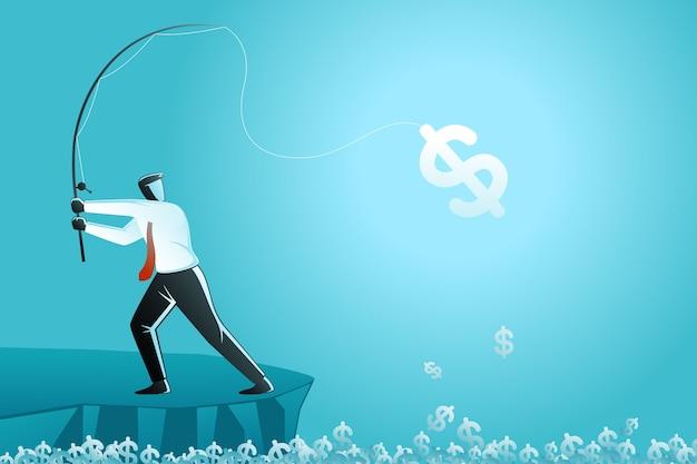 Geschäftskonzept, geschäftsmann, der geld fischt