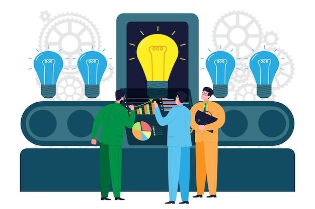 Geschäftskonzept. geschäftsmann investor sucht nach einer neuen idee für investitionen. startup-metapher. flache illustration der vektorkarikatur.