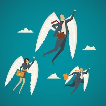 Geschäftskonzept. geschäftsmann mit flügeln fliegen bis zum himmel.