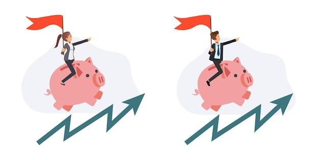 Geschäftskonzept.gewinnkonzept. geschäftsleute reiten auf dem oberen sparschwein, das die pfeillinie nach oben bewegt. flache vektorzeichentrickfilm-figurenillustration.