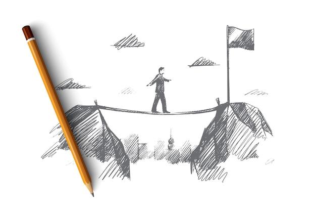 Geschäftskonzept. hand gezeichneter geschäftsmann, der zu seinem ziel kommt. mann bewegt sich in richtung des ziels isolierte illustration.