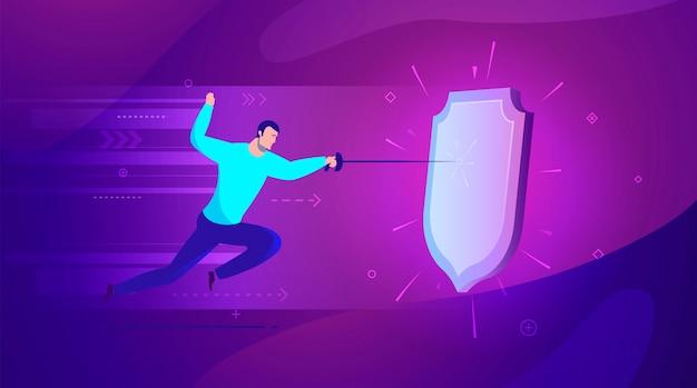 Geschäftskonzept illustration guter schutz durch einen schutzschild vor angriffen - moderne farben.