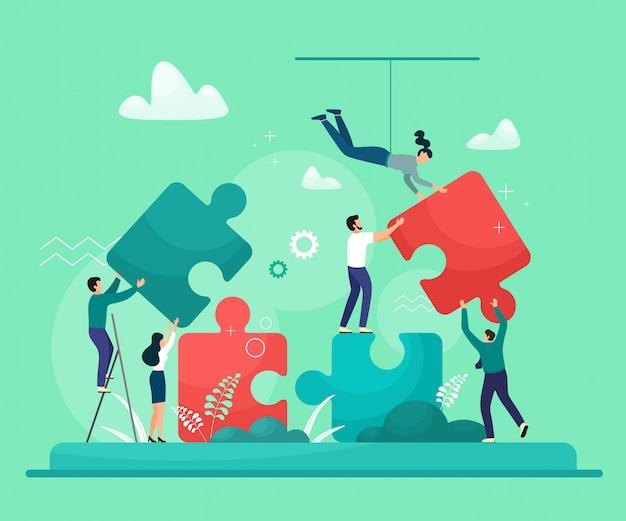 Geschäftskonzept. menschen, die puzzle-elemente verbinden. symbol für teamarbeit, partnerschaft, zusammenarbeit. auf weißem hintergrund in trendfarbe isolieren.
