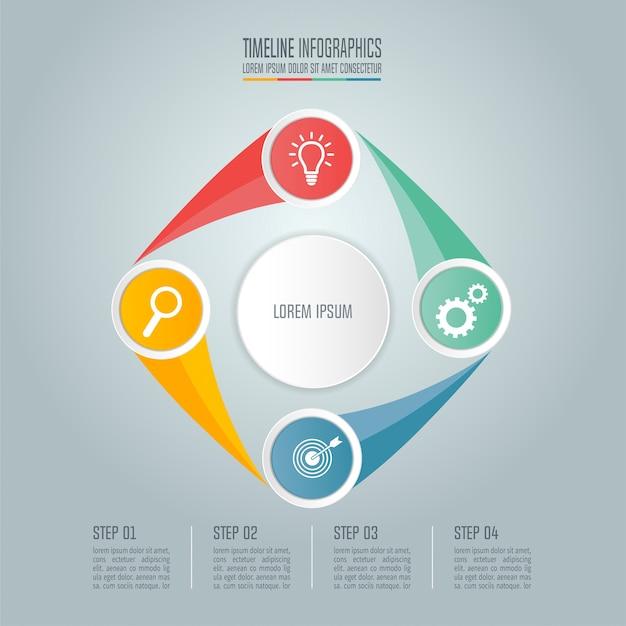 Geschäftskonzept mit 4 optionen, schritten oder prozessen.